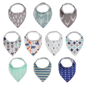 10-Pack Baby Bandana Drool Bibs, 100% Organic Cotton, Hypoallergenic, Ultra Soft and Absorbent Set for Drooling and Teething, Unisex Bundle - Great Baby Shower Gift for Boys and Girls by MiiYoung