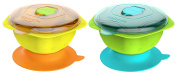 Kidsmile Stay Put and Spill-Proof Baby Feeding Bowl with Super Strong Suction Base, Air Damper, Snap Tight Lids, Pentagonal Non-Skid Handles and Raised Star Skip-Proof Design, Green+Yellow, 2-Pack