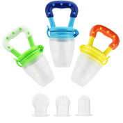 Baby Fresh Food Feeder (3 Pack) | Silicone Fresh food nibbler Pacifier | Infant Fruit Teething Toy | Silicone Pouches for Toddlers & Kids