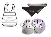 Izzy and Owie Four Piece Stackable Dinner Set Zebra - Yum Yum Handkerchief Bib and Waterproof Bib