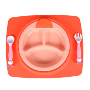 Silicone Baby Placemat With Forks & Spoon Set, Silicone Insulation Anti-Hot Pad, 3 Compartments Plastic Plate, Tableware