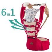 Baby Carrier Red Mesh Hipseat - 2017 New Design Forward Facing Baby Carrier Backpack for Kids, Toddlers, Infants, New Dad and Mums, Including Detachable Hood Side Pocket and 2 Cotton Baby Bibs