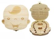 JJMG NEW Baby Milk Teeth And Lanugo Hair Wood Box Child Unique Wooden Keepsake Box Dental & Foetal Hair Record Organiser