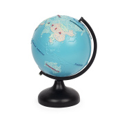 Spinning World Globe Blue Coin Bank
