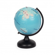 Spinning World Globe Blue Coin Bank