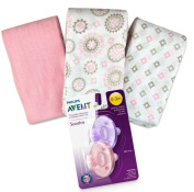Swaddle Me Muslin Swaddle Blanket Bundle - 3 Mix n Match Blankets 1 Aventi Pacifiers