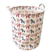 Ahyuan Large Eco-Friendly Canvas Storage Bin Swedish Dala Horse Fabric with Handles Toy Box/ Toy Storage/ Kids Laundry Basket/ Nursery Hamper