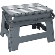 Simplify Striped Folding Step Stool with Handle Grey