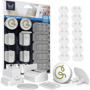 Magnetic Storage Cabinet Lock for Child and Baby Safety to use in kitchen and children's room with Plug Covers that make your home safer