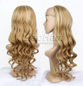 Long Curly 3/4 Wig Half Fall Highlight Brown mixed Blonde Hair Fall Synthetic Half Head Wig for Women