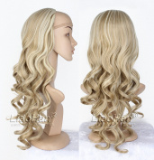 Long Curly Half Head Wig Fall Highlight Brown mixed Blonde Hair Fall 3/4 Wig Hairpiece