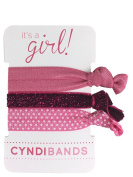 It's a Girl Pink 3 Pack Hair Ties Baby Shower Favour