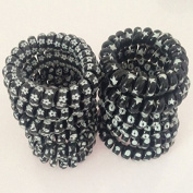 Hair Ties No Crease Spiral J-MEE 12 PCS Black-and-White Patterns Plastic No Damage Hair Rubber Bands for Thick Hair