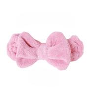 Adela 1 Pcs Pink Coral Bowknot Hair Wrap Lady Girl Wash Shower Elastic Hairband