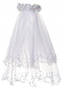 Bienvenu Girls 2-Tier Beaded Veil with Attached Floral Headband,White_3