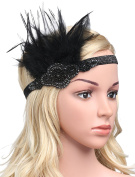 BABEYOND Flapper Headband 1920s Great Gatsby Style Black Feather Headpiece