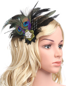 BABEYOND Roaring 20s The Great Gatsby Flapper Headband Peacock Feather Alligator Hair Clip Fascinator