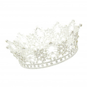 CamingHG Unisex Diamante White Crystal Sapphire Ruby Crown King Queen Pageant Tiara