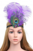 BABEYOND Women's Peacock Headband Crystal Headband Feather Flapper Headbands Vintage 1920s