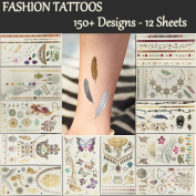 Temporary Tattoos 12 Premium Sheets Metallic Flash - 150+ Shimmer Designs in Gold, Silver, Black - Fake Jewellery Tattoos - Bracelets, Feathers, Wrist & Arm , Eyes,Peacock,Datura,Elephant,Butterfly etc