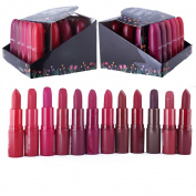 12 pc long lasting bullet matte rouge red brown purple lipsticks set-12 different most fashionable colours