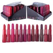 12 pc long lasting bullet matte rouge red brown purple lipsticks set-12 different most fashionable colours