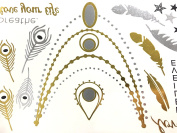 Timemorry TM-MW55 Metallic Temporary Tattoos- 9 Large Sheets- 150+ Designs in Gold & Silver