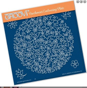 Groovi Parchment Embossing Plate - Floral Moon A5 Template - Laser Etched Acrylic for Parchment Craft