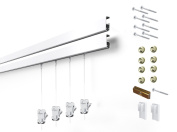 4 Hanging Components STAS Cliprail Pro Picture Hanging System Kit- Heavy Duty Track and Art Hanging Gallery Kit for Home, Office or Public Space