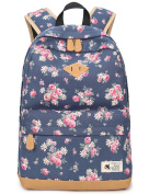 Flora Backpack for Girls, Canvas School Bookbag College Laptop Bag Women Daypack Travel Rucksack