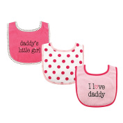 Luvable Friends 3 Piece Drooler Bibs with Fibre Filling for Girls, I love Daddy
