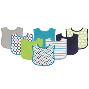 Luvable Friends 8 Piece Drooler Baby Bibs, Blue and Lime