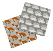 "Milkbarn Organic Cotton Burp Cloths ""Grey Hedgehog/Orange Fox"""