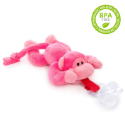 BabyHuggle Pink Monkey Pacifier - Stuffed Animal Binky, Soft Plush Toy with Detachable Silicone Baby Dummy, Paci Clip Leash & Squeaky. Teether Holder. Safe & Soothing Baby Shower Gift for Boys & Girls