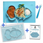 Cool Panda Premium Silicone Feeding Placemat for Babies, Reusable Travel Bag, Spoon and Healthy Recipes Ebook Included, Non-Slip Suction Plate, Large Size