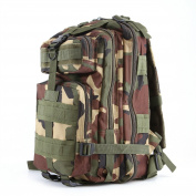 3P Tactical Military Backpack, Feskin 25L Superior Waterproof Wearable Durable Double Shoulder Bag for Kids Camping, Climbing, Hiking, Shooting Outdoor Sports - Jungle Camouflage