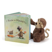Jellycat I Know a Monkey Board Book and Bashful Monkey, Medium - 30cm