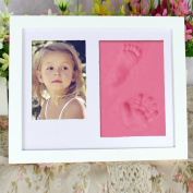Baby Clay Handprint and Footprint Frame Keepsake Kit Non Toxic and Safe Clay Solid Wood Product with Acrylic Glass Air Drying Baby shower Gift