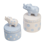 Elegant Baby Ceramic Elephant Tooth and Curl Set, Blue