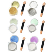 DDLBiz 6Pcs Nail Glitter Powder Shining Mirror Powder Chrome Pigment With Stick