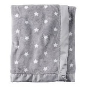 Carter's Grey White Star Plush baby blanket