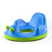 Kidsmile Potty Training Seat For Boys and Girls, Non-Slip and Sturdy Baby Toilet Trainer, Travel Potties with 2 Easy Grip Button, Double Base Support Safe Potty Ring for 6-48 Month, Blue Swan