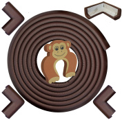 Edge & Corner Guards 5.3m [5m Edge + 4 Pre-Taped Corners] Density Bumper Cushion Protector - Coffee Brown - Childproofing Protection - Door Slammer Guard Included