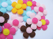 YYCRAFT Pack Of 90pcs Padded Spring Felt Flower Appliques 9 Colours