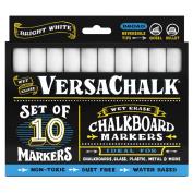 White Liquid Chalk Markers (10-pack) by VersaChalk - For Chalkboard Signs, Blackboards, Glass, Windows