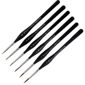 Transon Weasel Hair Detail Paint Brush Set- 6 Sizes with Triangular Handle Great for Detailing & Art Painting - Acrylic, Watercolour, Oil ,Gouache,Miniatures, Models,Nails