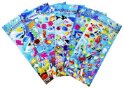 Happy Underwater Sea World Stickers 6 Sheet with Angelfish, Sharks, Starfish, Hippocampus - PVC Ocean Foam Fish Stickers for Kids - 240 Stickers