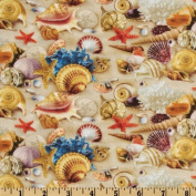 Children Of The Sea II Shells Sand Fabric By The Yard