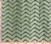 Sage Green and White Wavy Lace Fabric 4 Way Stretch Nylon 150cm - 150cm