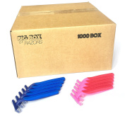 1,000 Box Combo Pack of Blue & Pink Bulk Disposable Twin Blade Razors for Men & Women
